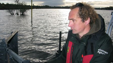 The Environment Agency's Steve Lane on Wroxham Broad. Picture: ANDREW STONE