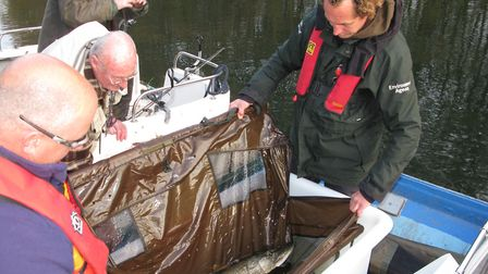 Steve Lane and John Wall with pike caught on the River Bure. Picture: ANDREW STONE