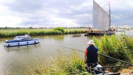 The wherry Hathor sailing on the River Thurne. July 2009 Norfolk Broads / Fishing / Angling / Wh