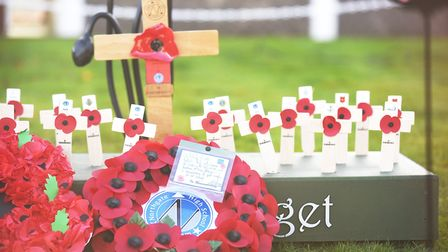 Wreaths and crosses laid at Northgate High School. Picture: Ian Burt