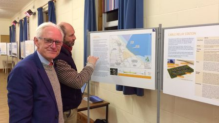 North Norfolk MP Norman Lamb, left, attended a public consultation in Happisburgh on Saturday. Pictu