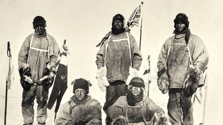 A �selfie� taken by Captain Scott'�s team just as they arrive at the South pole to discover that the