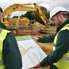 Workers on site in Bramford as construction begins on a substatiob for the East Anglia One wind farm