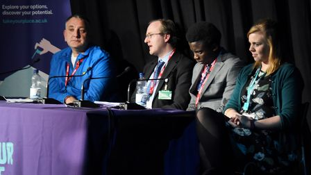 The panel in the Take Your Place against Terrorism conference at the Lowestoft Sixth Form College, f