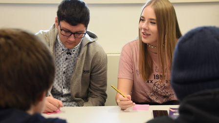 Students at the Lowestoft Sixth Form College take part in a breakout session from the Take Your Plac