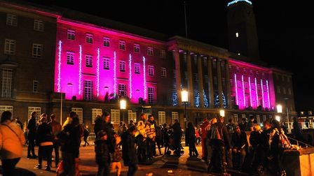 The City Hall lit up after the Christmas lights were switched on. Picture: DENISE BRADLEY