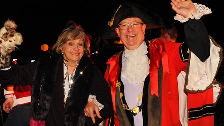 Helen McDermott with the Lord Mayor, David Fullman, after she switched on the Norwich Christmas ligh