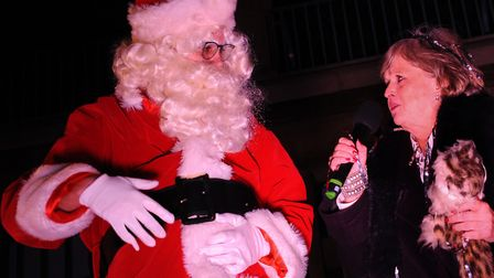 Helen McDermott ready to switch on the Norwich Christmas lights with Santa. Picture: DENISE BRADLEY