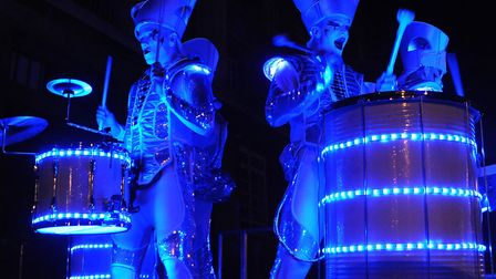 Drummers lit up at the Norwich Christmas lights switch on. Picture: DENISE BRADLEY