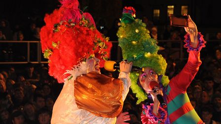 The Ugly sisters entertain before the Norwich Christmas lights switch on. Picture: DENISE BRADLEY