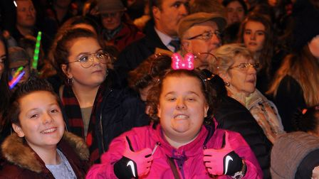 Crowds enjoying the Norwich Christmas lights switch on. Picture: DENISE BRADLEY