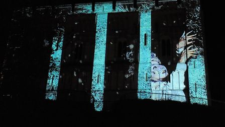 One of the short films projected onto Norwich Castle at the Christmas lights switch on. Picture: DEN