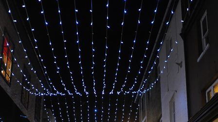 Christmas lights in Davey Place. Picture: DENISE BRADLEY