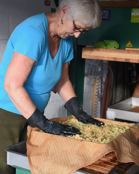 Apple pressing at the Harleston Cider Company, based at Palgrave. Deb Woolley wraps the pomace into