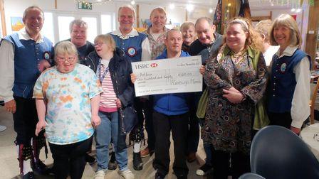 Members of Rumburgh Morris present a cheque to Helen Murray of Artbox. Picture: Rumburgh Morris