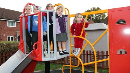 Children playing on the new equipment on Allen Meale Way, Stalham. Picture: Courtesy of Flagship Gro