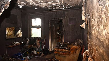 Fire has destroyed Graham Withers' home in Sir Lewis Street, King's Lynn. Picture: Ian Burt