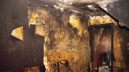 The burnt out lounge of Sir Lewis Street in North Lynn. Picture: Ian Burt