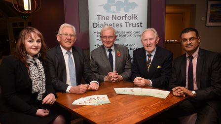 The Norfolk Diabetes Trust founder and president, Richard Greenwood, centre, with, from left, Lucy W
