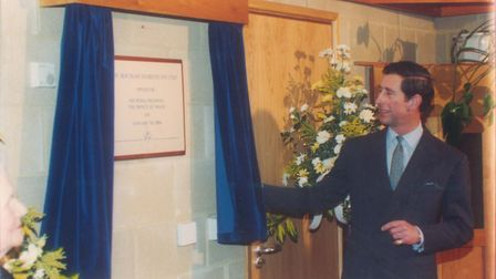 The Prince of Wales unveiling the plaque in the reception of the new Bertram Diabetes Eye Unit exten