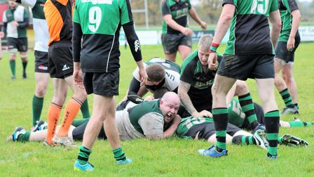 Norwich Union celebrate as Michael Shucksmith scores his side's third try against Beccles. Picture: