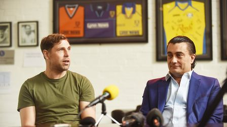 Grant Holt with Stephen Cleeve on the day his signing was announced. Picture: Ian Burt