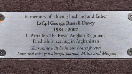 Bench unveiling in memory of Lance Corporal George Davey who died in Afghanistan in 2007 PHOTO: N