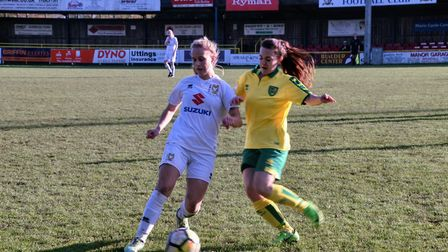 Norwich City Ladies' Hayley Turner closes her opponent down against MK Dons Ladies. Picture: Brian C