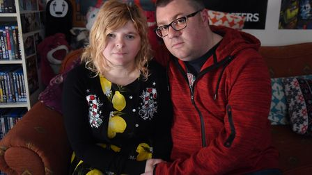 Samantha and Neil Colk as Samantha recovers from being hit on the head by debris from a firework at
