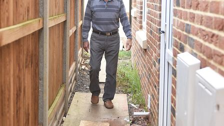 Derek Jordan who is unhappy with the work on his new property in Horsford.Picture: ANTONY KELLY