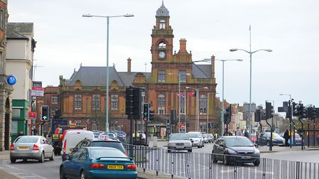 View south along Hall Quay in Great Yarmouth towards the town hall. Picture: James Bass