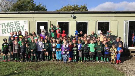 Members of Beccles Rugby Club minis in fancy dress for Amber's Smile. Picture: Beccles Rugby Club