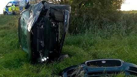 On Friday afternoon police were called when a driver lost control of his car and plunged into a fiel