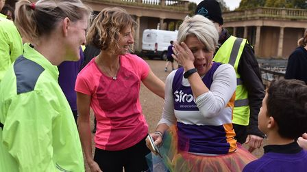 Lou Boyce takes part in her 100th Park Run to raise money for the Stroke Association after her husba