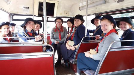 Girlguiders on a bus at 1940s event at Gressenhall Farm and Workhouse. Photo: Girlguiding Norfolk.