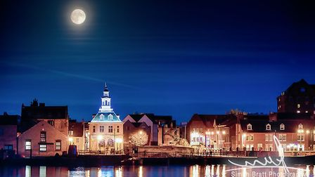 The supermoon over King's Lynn's waterfront. Picture: Simon Bratt