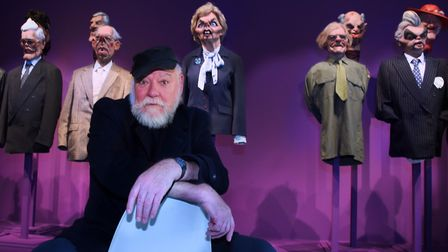 Roger Law, co-creator of the TV satire series Spitting Image, at his exhibition 'From Satire To Cera