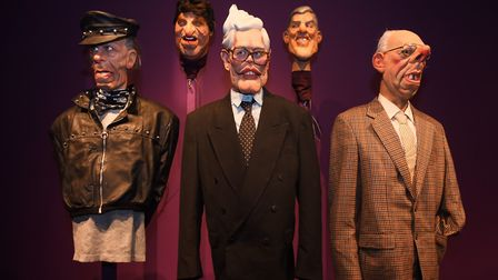 Spitting Image puppets at Roger Law's exhibition 'From Satire To Ceramics' at the Sainsbury Centre.