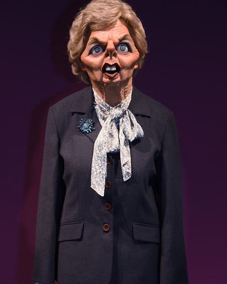 Spitting Image puppet Margaret Thatcher at Roger Law's exhibition 'From Satire To Ceramics' at the S