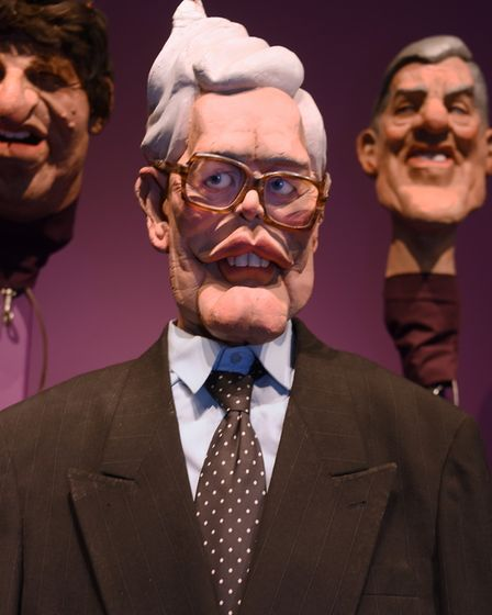 Spitting Image puppet Douglas Hurd at Roger Law's exhibition 'From Satire To Ceramics' at the Sainsb