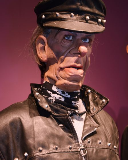 Spitting Image puppet Norman Tebbit at Roger Law's exhibition 'From Satire To Ceramics' at the Sains
