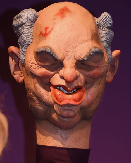 Spitting Image puppet Mikhail Gorbachev at Roger Law's exhibition 'From Satire To Ceramics' at the S