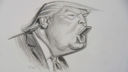 Roger Law's drawing of Donald Trump at his exhibition 'From Satire To Ceramics' at the Sainsbury Cen