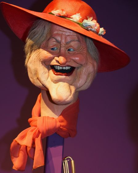 Spitting Image puppet the Queen Mother at Roger Law's exhibition 'From Satire To Ceramics' at the Sa