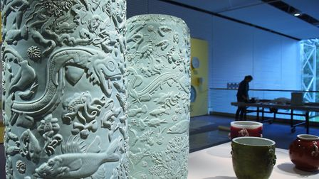 Roger Law's ceramic pots at his exhibition 'From Satire To Ceramics' at the Sainsbury Centre. Pictur