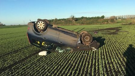 A car flipped onto its roof in Feltwell. Picture: PC Rod Morrison
