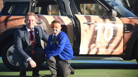 Howard Junior School pupil Josh Barnes (7) won a competition with Listers Mini Dealership to design