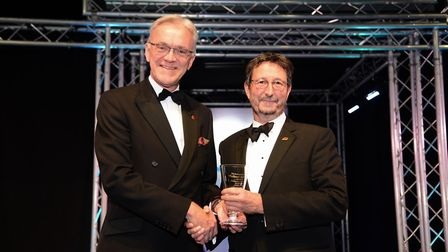 EDP Business Awards 2017. Outstanding Achievement Award winner John Last who received his award from