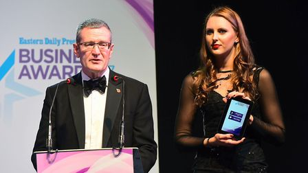 EDP Business Awards 2017. Kevin Horne and Jessica-Jane Applegate MBE. Photo by Simon Finlay Photogra