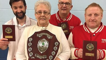 New Norfolk Fours champions, from left: John Jeffery, Lesley Crowe, Steve Hall and David Sharpe. Pic